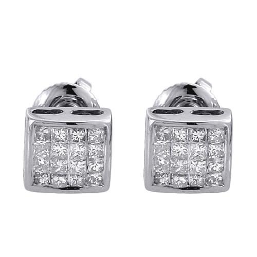 Princess Cut Diamond Studs Mens Ladies 14K White Gold Square Earrings 0.25 Ct.