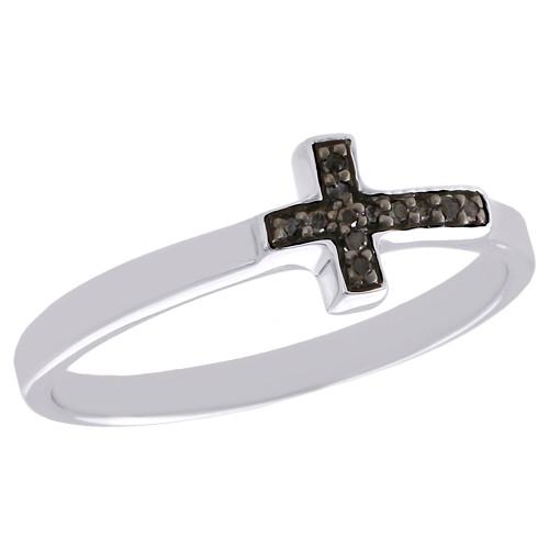 .925 Sterling Silver Black Diamond Sideways Cross Ring Promise Band 1/20 CT.