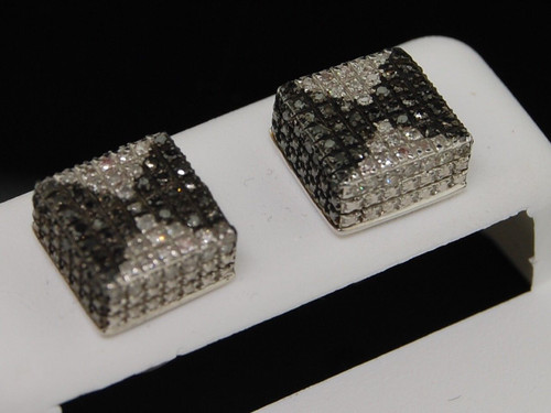 Mens Black Diamond Square Cube Earrings .925 Sterling Silver Studs 0.55 Ct