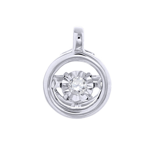 Round Dancing Diamond Pendant 10K White Gold Charm Necklace 0.05 Ct.