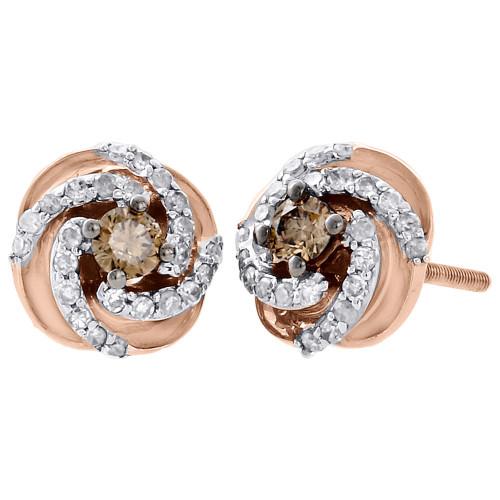 10K Rose Gold Solitaire Brown Diamond Studs Ladies 9.10mm Swirl Earrings 0.50 Ct
