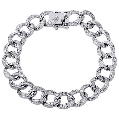 "10K White Gold 12mm Mens Miami Cuban Diamond Open Link Bracelet 8"" - 3.15 Ct."
