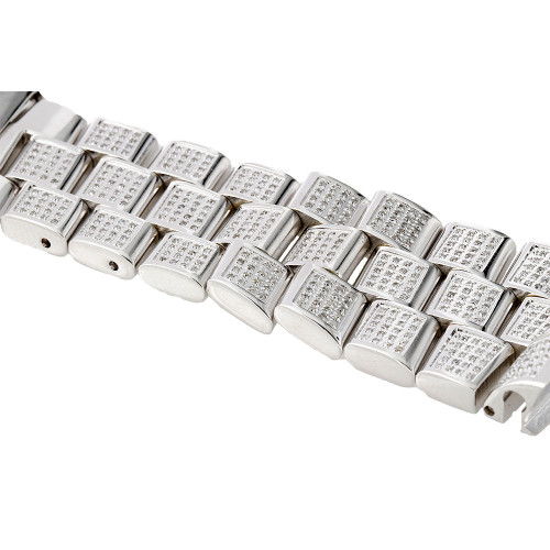 Brand New Mens 24mm Diamond Band Custom Set Breitling Super Avenger  2.50 ct.