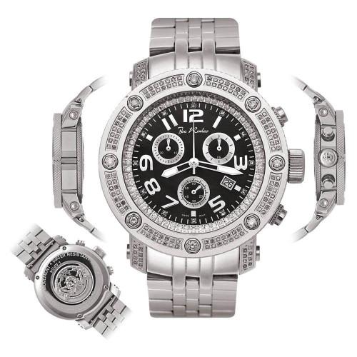 Men's Diamond Watch Joe Rodeo Apollo IAPO5 1.7 Ct Black Gloss Dial