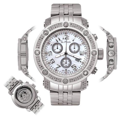 Men's Diamond Watch Joe Rodeo Apollo IAPO4 1.7 Ct Mother of Pearl Dial