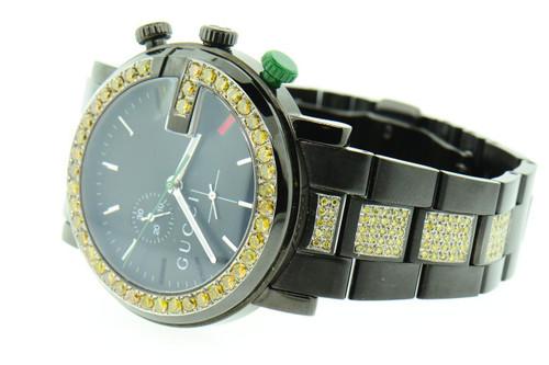 "Mens Custom Gucci YA101331 Black PVD ""G"" Chrono Yellow Diamond Watch 6.50 ct."