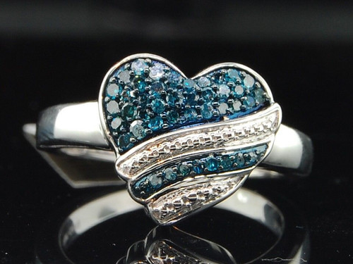 Blue Diamond Heart Ring 10K White Gold Round Fashion Love Promise Band 1/3 Ct.
