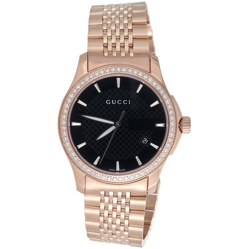 Gucci Ya126402 Diamond Watch Black Dial 38mm Stainless Steel Rose PVD 1.75 Ct.
