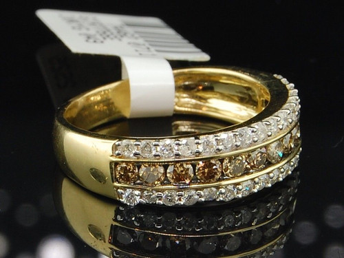 10K LADIES YELLOW GOLD Champagne BROWN DIAMOND ENGAGEMENT RING WEDDING BAND SET