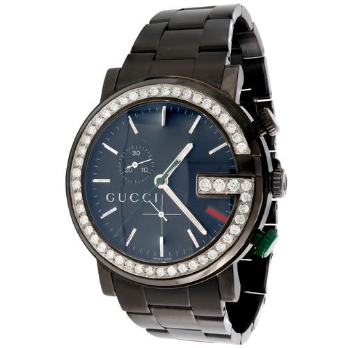 Mens Black PVD Diamond Gucci Ya101339 G-Watch Black Dial 44mm Chronograph 2 CT.