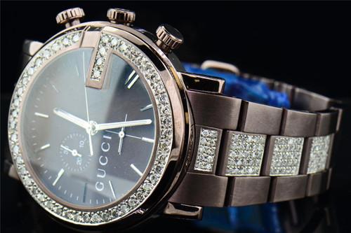 Mens Custom Diamond Gucci Ya101341 Brown PVD Metal Band Chrono Watch 6.50 ct.
