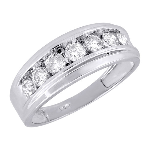 10K Mens White Gold 7 Stone Diamond Engagement Ring Wedding Band 1 ctw. 8.5mm
