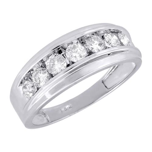 10K Mens White Gold 7 Stone Diamond Engagement Ring Wedding Band 1 ctw. 8.5mm