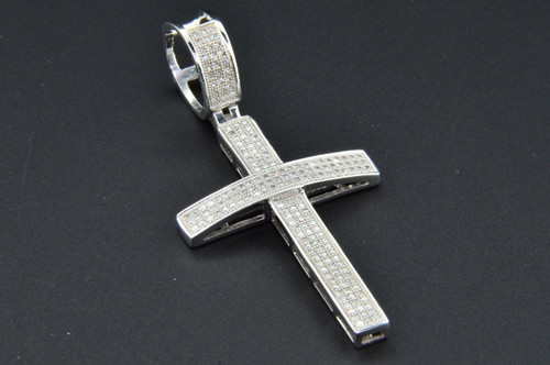 Diamond Cross Pendant 10K White Gold Pave Round Cut 0.70 CT. Domed Charm