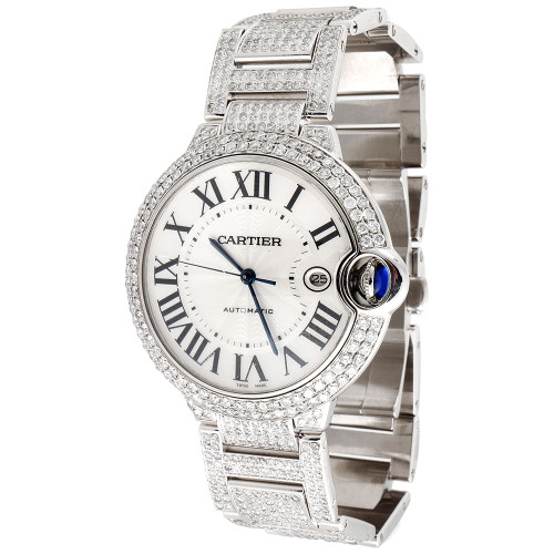 Mens Ballon Bleu de Cartier Large Fully Loaded Diamond 42mm Watch 14.50 CT.