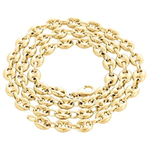 Real 10K Yellow Gold 3D Hollow Puff Gucci Link Chain 6.50mm Necklace 20-30 Inch