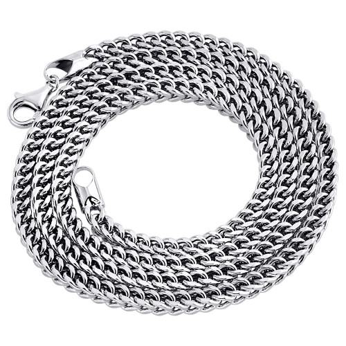 Real 10K White Gold 3D Hollow Franco Box Link Chain 3.75mm Necklace 24-40 Inches