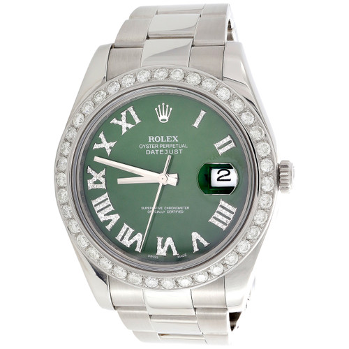 Mens DateJust II Rolex 116300 Diamond Watch 41mm Green Roman Numeral Dial 3 CT.