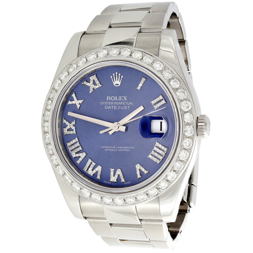 Mens DateJust II Rolex 116300 Diamond Watch 41mm Blue Roman Numeral Dial 3 CT.