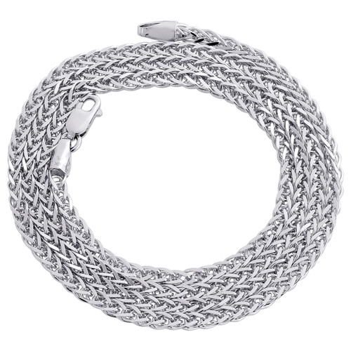 Real 10K White Gold Round 3D Spiga Link Chain 2.25mm Unisex Necklace 18-24 Inch