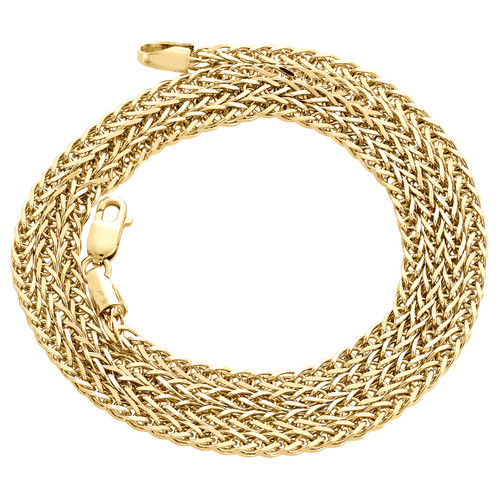 Real 10K Yellow Gold Round 3D Spiga Link Chain 2.25mm Unisex Necklace 18-24 Inch