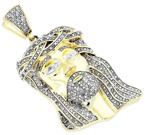.925 Sterling Silver Real Diamond Micro Mini Jesus Face Piece Pendant Charm 1 CT