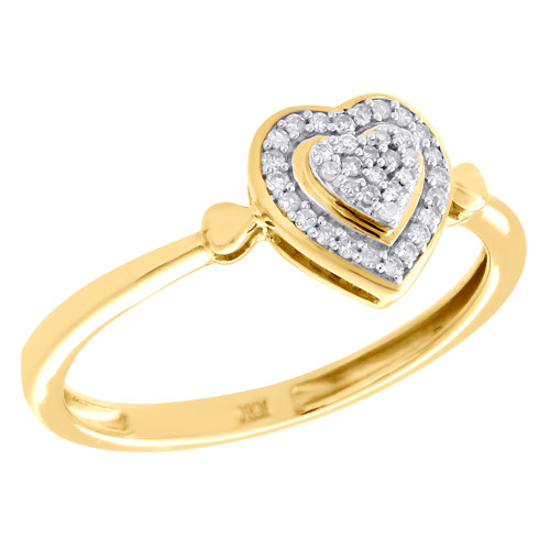 10K Yellow Gold Pave Diamond Tiered Heart Right Hand Cocktail Ring 0.10 CT.
