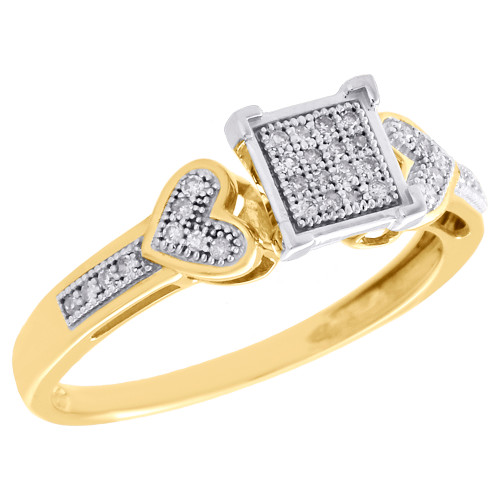 10K Yellow Gold Diamond Double Heart Square Right Hand Cocktail Ring 0.10 CT.