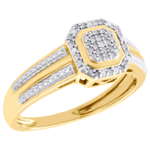 10K Yellow Gold Pave Set Diamond Octagon Right Hand Cocktail Ring 0.10 CT.