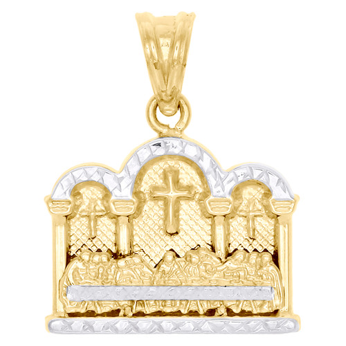 "10K Yellow Gold Two Tone Diamond Cut Last Supper Pendant 1"" Closed Back Charm"