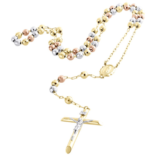 10K Gold  Tri-Color Virgin Mary Rosary Cross Diamond Cut Bead 6mm Necklace 26""
