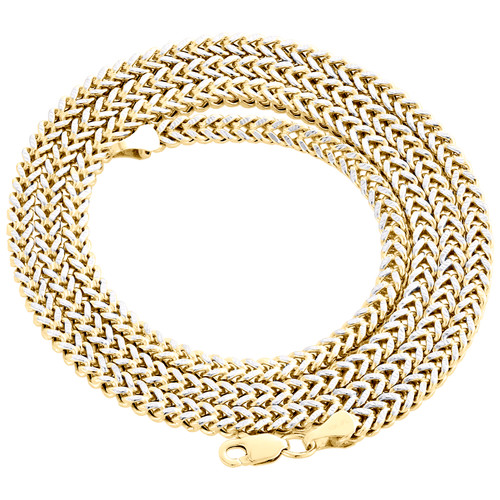 10K Yellow Gold 3D Diamond Cut Hollow Franco Box Chain 3mm Necklace 20-30 Inch