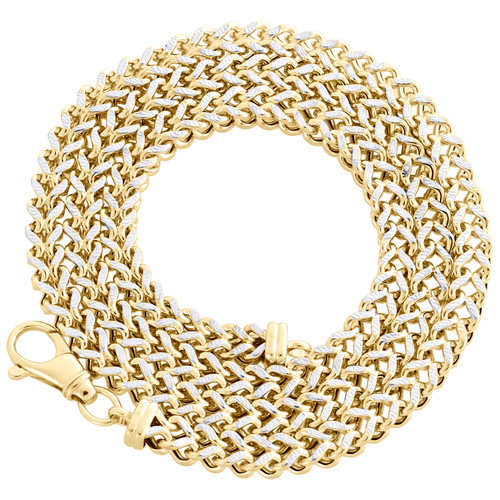 10K Yellow Gold 3D Diamond Cut Hollow Franco Box Chain 7mm Necklace 24-30 Inch