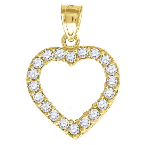 "10K Yellow Gold Heart CZ Pendant 0.95"" Cut Out Charm"