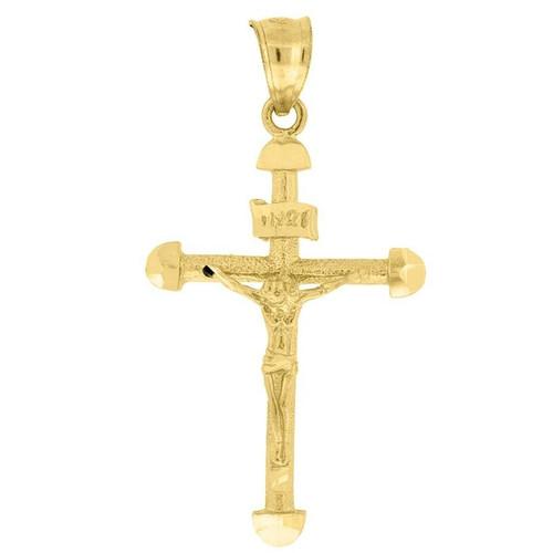 10K Yellow Gold INRI Crucifix Diamond Cut Cross Pendant 1.55Š— Textured Charm