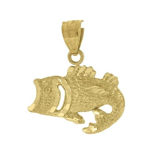 "10K Yellow Gold Fish Pendant 0.75"" Animal Charm"