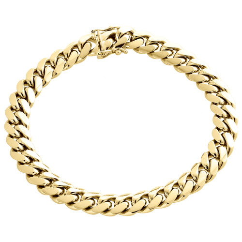 """Mens Real 10K Yellow Gold 9mm Solid Miami Cuban Link Fancy Bracelet Box Clasp 9"""""""