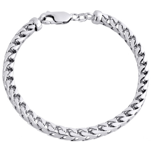Mens Real 10K White Gold Solid Franco Box Closed Link Fancy Bracelet 5mm | 8""