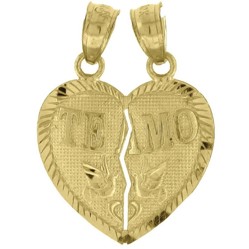 "10K Yellow Gold Te Amo Heart 2 Piece Pendant 0.85"" Breakable Charm"