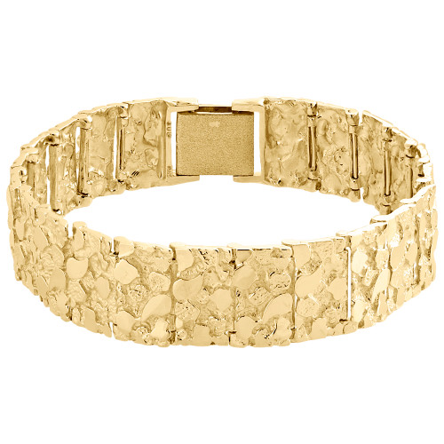 Mens Real 10K Yellow Gold Solid Nugget Ore Style Fancy Link Bracelet 17mm | 9""