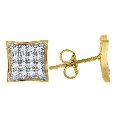 "10K Yellow Gold Square Pave CZ 0.37"" Stud Push Back Earrings"