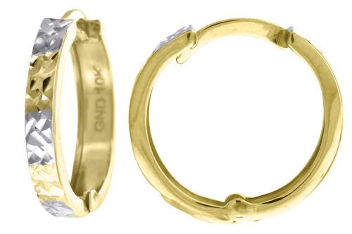 "10K Yellow Gold Two Tone Diamond Cut Hinged Hoop 0.61"" Fashion Earrings"