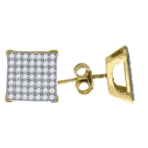 "10K Yellow Gold Square Pave CZ 0.43"" Stud Push Back Earrings"