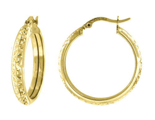 "10K Yellow Gold Diamond Cut Hinged Hoop 1.02"" Fashion Earrings"