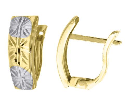 "10K Yellow Gold Two Tone Diamond Cut Huggie Hoop 0.55"" Fashion Earrings"