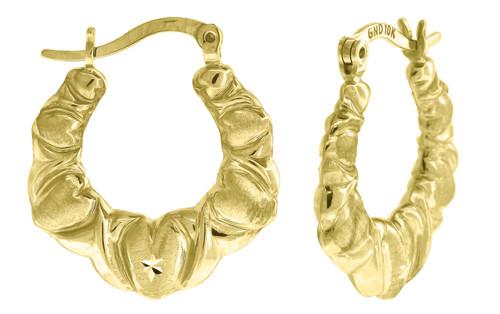 "10K Yellow Gold Satin Finish Puffed Heart Hinged Hoop 0.85"" Fashion Earrings"