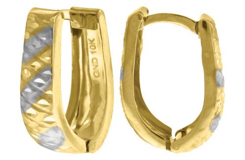 "10K Yellow Gold Two Tone Diamond Cut Huggie Hoop 0.73"" Fashion Earrings"