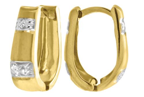 "10K Yellow Gold Two Tone Diamond Cut Satin Finish Huggie Hoop 0.74"" Fashion Earr"