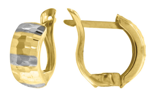 "10K Yellow Gold Two Tone Diamond Cut Huggie Hoop 0.52"" Fashion Earrings"