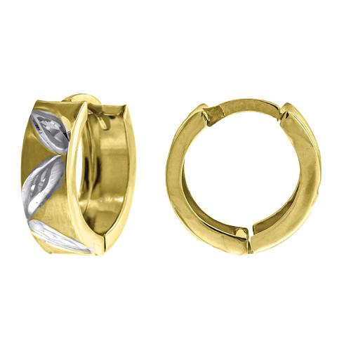 "10K Yellow Gold Two Tone Diamond Cut Satin Finish Huggie Hoop 0.53"" Fashion Earr"
